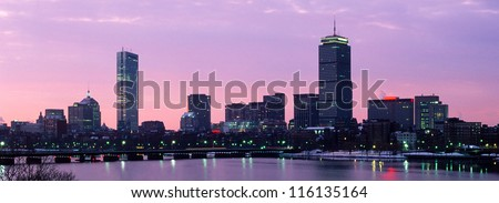 Boston's Back Bay skyline with Prudential and Hancock Buildings - stock photo