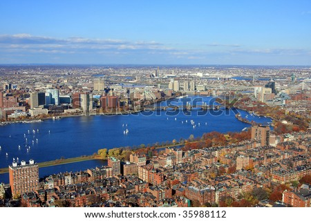 Boston's downtown, aerial view of the Charles River and the Cambrige University, Boston in the autumn, panorama of the Charles River in Boston, Boston's Prudential Building panorama