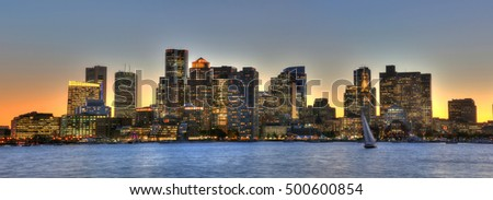 Boston's financial district as viewed from Pier Park