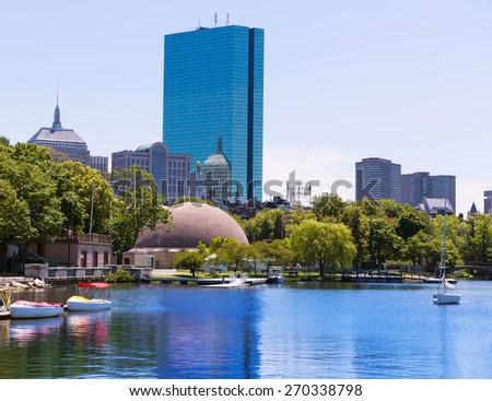 Boston sailboats of Charles River at The Esplanade in Massachusetts USA - stock photo