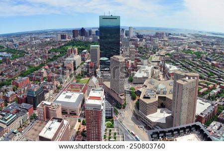 Boston skyline aerial view panorama with skyscrapers - stock photo