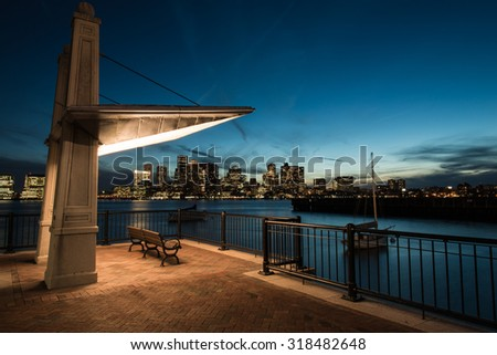 Boston skyline after sunset with waterfront.  - stock photo