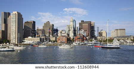 Boston skyline and harbor, USA - stock photo