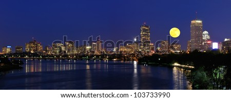 Boston skyline and supermoon - stock photo