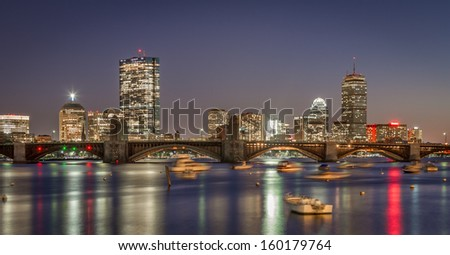 Boston skyline and the Longfellow bridge - stock photo