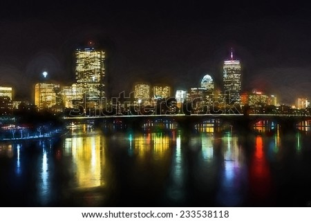 Boston skyline and the Longfellow bridge on the day water in the river turned into ice - stock photo