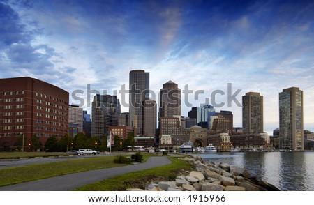 Boston skyline at dawn - stock photo