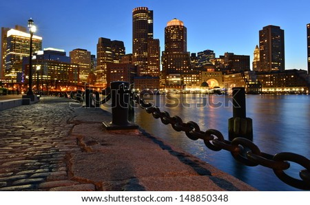 Boston skyline at dusk, Boston, MA, USA - stock photo