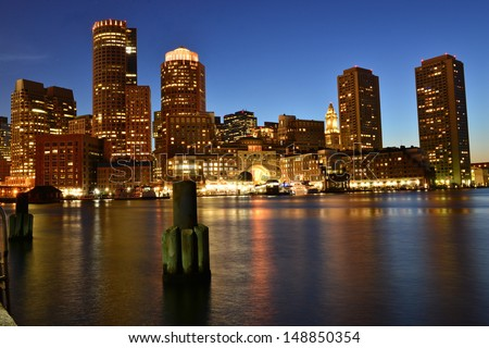 Boston skyline at dusk, Boston, MA, USA