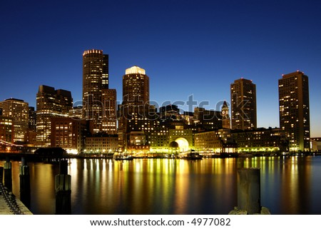 Boston skyline at night - stock photo