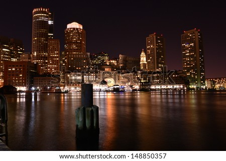 Boston skyline at night, Boston, MA, USA
