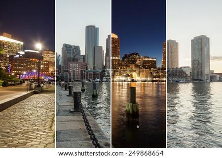 Boston skyline day to night montage - Massachusetts - USA - United States of America - stock photo