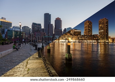 Boston skyline day to night montage - Massachusetts - USA - United States of America