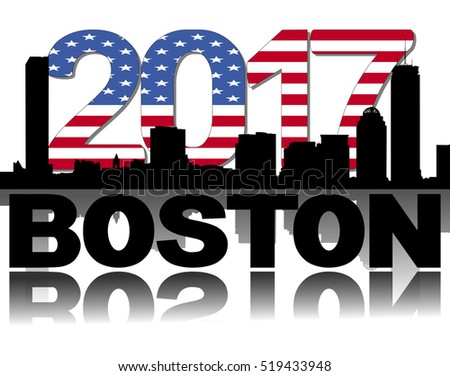 Boston skyline 2017 flag text illustration