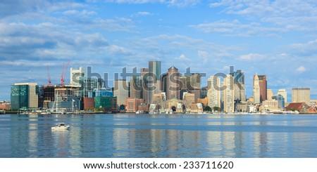 Boston skyline  from East Boston, Massachusetts - USA - stock photo