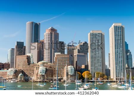 Boston skyline from the sea. - stock photo