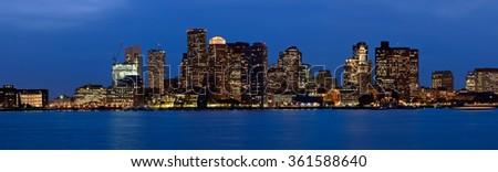 Boston skyline panorama, Boston, Massachusetts, USA - stock photo