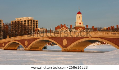 Boston Skyline Showing John W. Weeks Bridge and Dunster House at Winter afternoon Sunset, Boston, Massachusetts, USA - stock photo