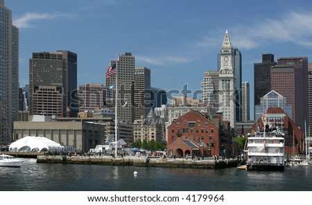 Boston skyline, view from the ocean, United States of America