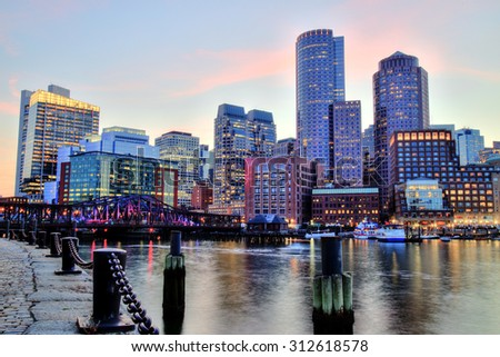Boston Skyline with Financial District and Boston Harbor - stock photo