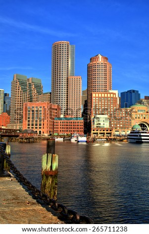 Boston Skyline with Financial District and Boston Harbor at Sunrise - stock photo