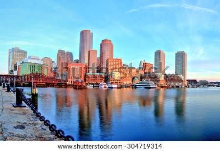 Boston Skyline with Financial District and Boston Harbor at Sunrise Panorama - stock photo