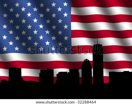 Boston skyline with rippled American Flag illustration - stock photo
