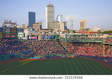 Boston Skyline with view of Historic Fenway Park, Boston Red Sox, Boston, Ma., USA, May 20, 2010, Red Sox versus Minnesota Twins, attendance, 38,144, Red Sox win 6 to 2 - stock photo
