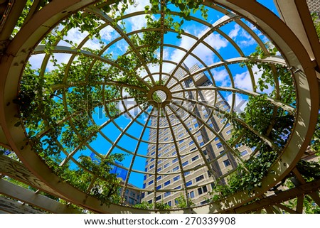 Boston skyscrapers from Norman Leventhal Park plants dome in Massachusetts USA - stock photo