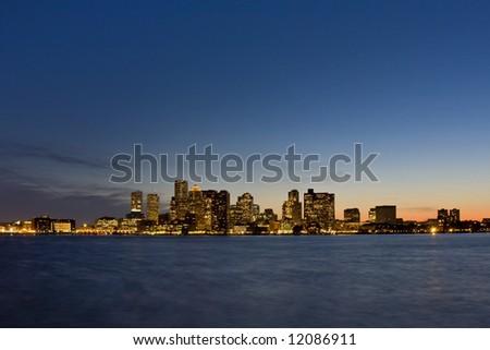 Boston Sunset Skyline - stock photo
