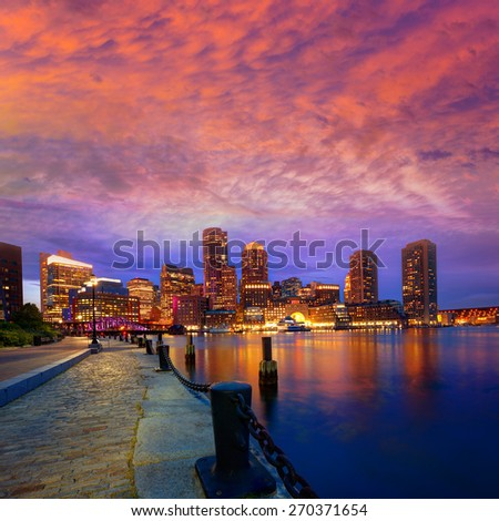 Boston sunset skyline from Fan Pier in Massachusetts USA - stock photo
