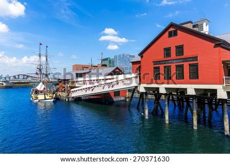 Boston Tea Party in Massachusetts USA - stock photo