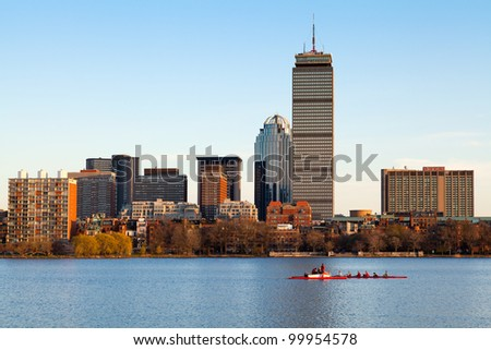 BOSTON, USA - APRIL 4: Harvard's Lightweight Crew practicing for a competitions against the Delaware team in the Charles River one week before the contest on April 4, 2012.