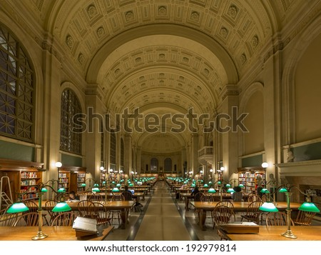 BOSTON, USA - APRIL 12: Landmark of MA in the USA, The Boston Public Library is not only the busiest but also the largest library in the USA with over 6 million books as seen on April 12, 2014.