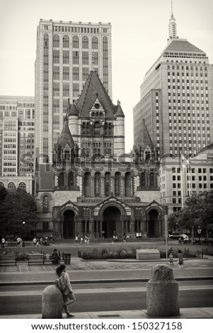 BOSTON, USA - AUGUST 16:  Copley Square in Boston, MA has become a main tourist attraction after the Boston Marathon 2013 bombing due to its proximity to the finishing line as Seen on August 16, 2013. - stock photo