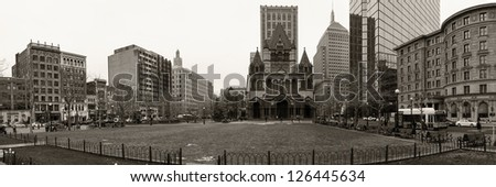 BOSTON, USA - JANUARY 19: The Copley Square is outstanding for the variety of important architectural works built around it, many of them official landmarks as seen on January 19, 2013 in Boston, MA. - stock photo