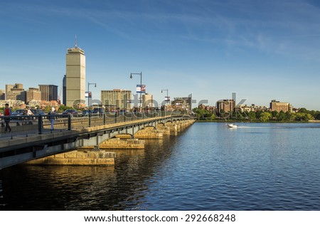 BOSTON, USA - JUNE 25: Panoramic view of Boston in Massachusetts, USA showcasing its mix of Modern and historic architecture by the Charles River at Back Bay on a sunny summer day on June 25, 2015. - stock photo