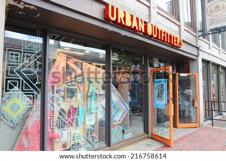 BOSTON, USA - JUNE 9, 2013: Urban Outfitters fashion store in Boston. Urban Outfitters is a multinational fashion company with 401 stores (2012). - stock photo