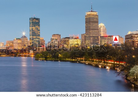 BOSTON, USA - MAY 18: Panoramic view of Boston in Massachusetts, USA at sunset showcasing its mix of modern and historic architecture on May 18, 2016. - stock photo