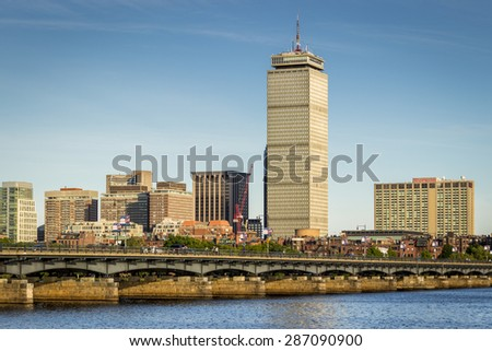 BOSTON, USA - MAY 10: Skyline of Boston in Massachusetts, USA showcasing its mix of modern and historic architecture by the Charles River on a sunny and warm afternoon on May 10, 2015. - stock photo