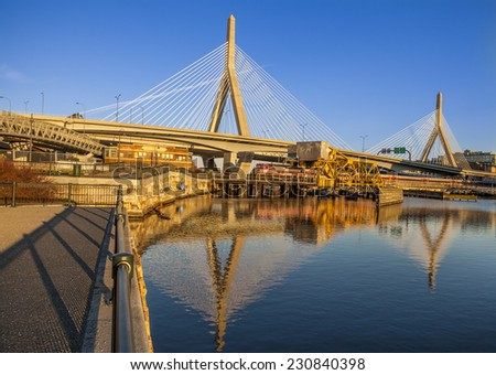 BOSTON, USA - NOVEMBER 10: Panoramic view of Boston in Massachusetts, USA showcasing the ultra modern architecture of the famous Zakim Bridge at sunset on November 10, 2014.