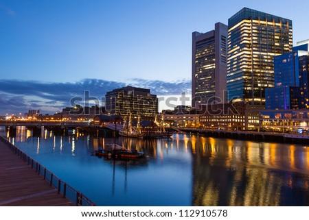 Boston waterfront by night, Massachusetts - USA - stock photo