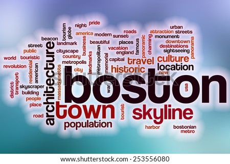 Boston word cloud concept with abstract background - stock photo