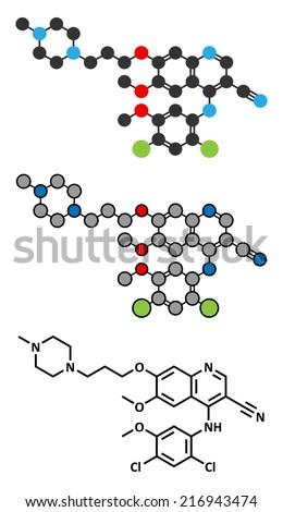 Bosutinib chronic myelogenous leukemia (CML) drug molecule. Tyrosine kinase inhibitor targeting Bcr-Abl and SRc family kinase. Conventional skeletal formula and stylized representation. - stock photo