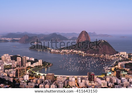Botafogo Bay and Sugarloaf Mountain in Rio de Janeiro in the Evening