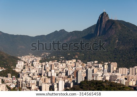 Botafogo District Skyline and Mountain Range of Rio de Janeiro with Corcovado and Christ the Redeemer - stock photo