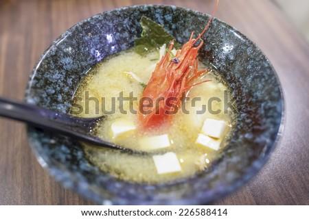 Botan Prawn Miso Soup - stock photo