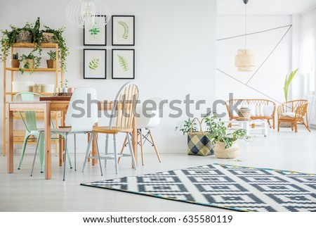 Botanic White Dining Room With Wood Table Chairs Pattern Carpet