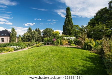 Botanical garden in Oslo Norway at summer - stock photo