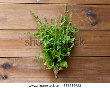 botany, gardening and herbs concept - close up of fresh melissa bunch on wooden table